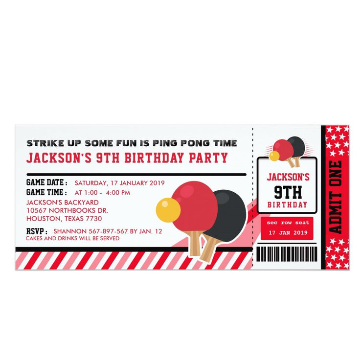 Editable Colour Ping Pong ticket birthday invitations