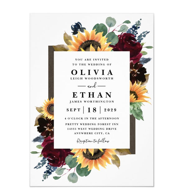 Sunflower and Roses Burgundy Red Navy Blue wedding invitations