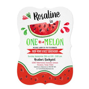 One in a melon First birthday invitations