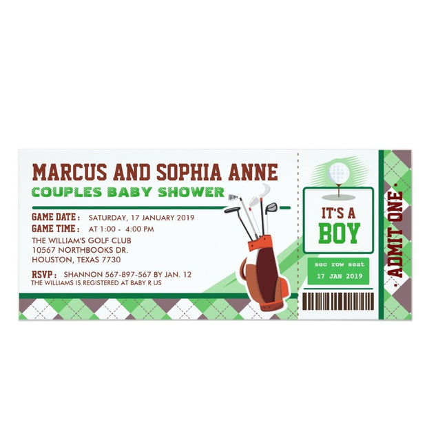 Mini Golf Ticket Pass Couples baby shower ticket invitation