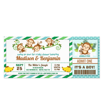 Monkey Jungle Ticket Pass Couples baby shower ticket invitation
