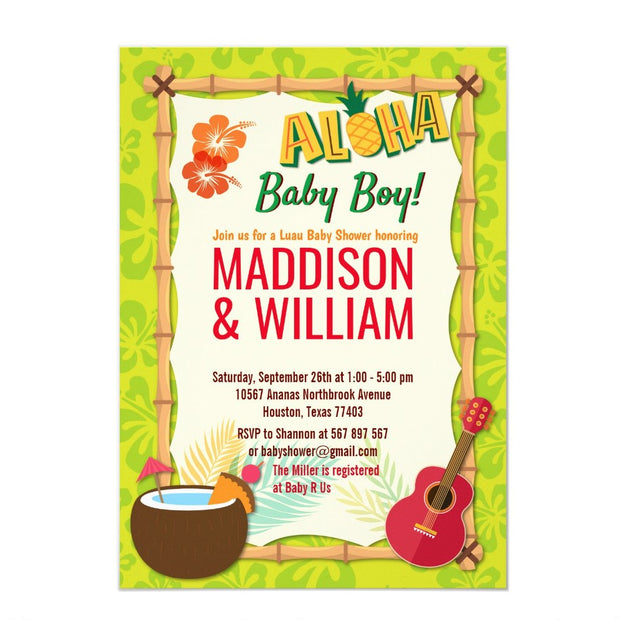 Aloha Luau Hawaiian Tropical Couples baby shower invitation