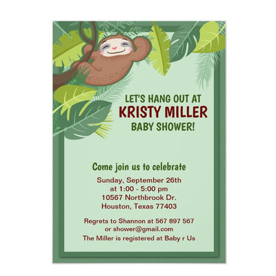 Jungle Sloth baby shower invitation