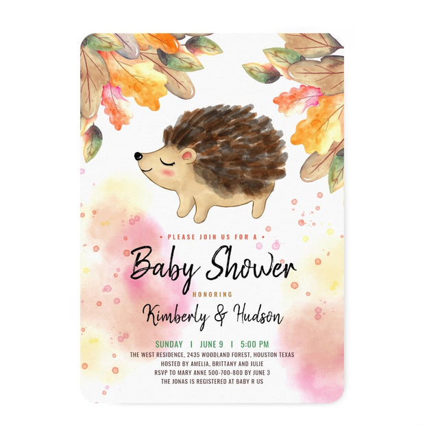 Fall Hedgehog Couple baby shower invitation