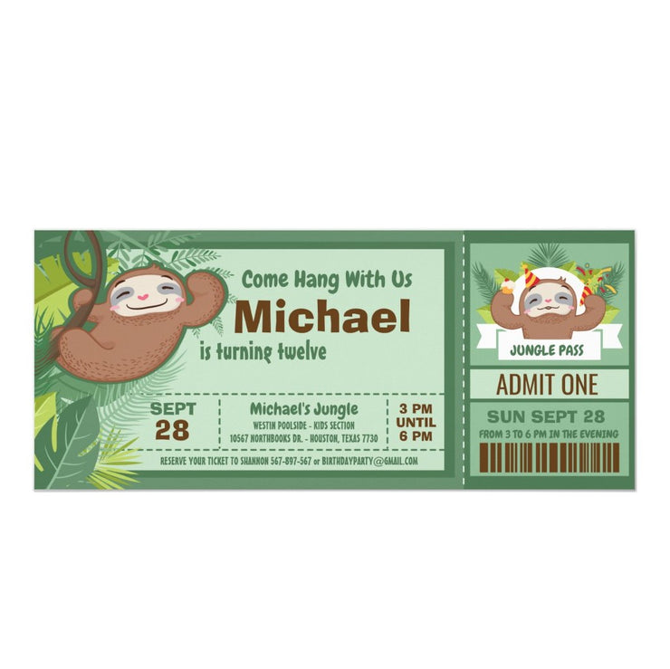 Silly Sloth Boy Jungle ticket birthday invitations