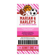 All Star Sport Couples baby shower ticket invitation