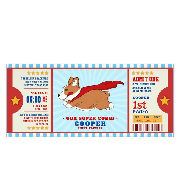 Superhero Corgi Puppy ticket birthday invitations