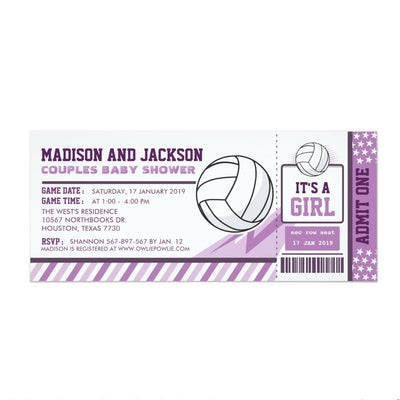 Editable colour Volleyball Ticket Couples Invitation baby shower ticket invitation
