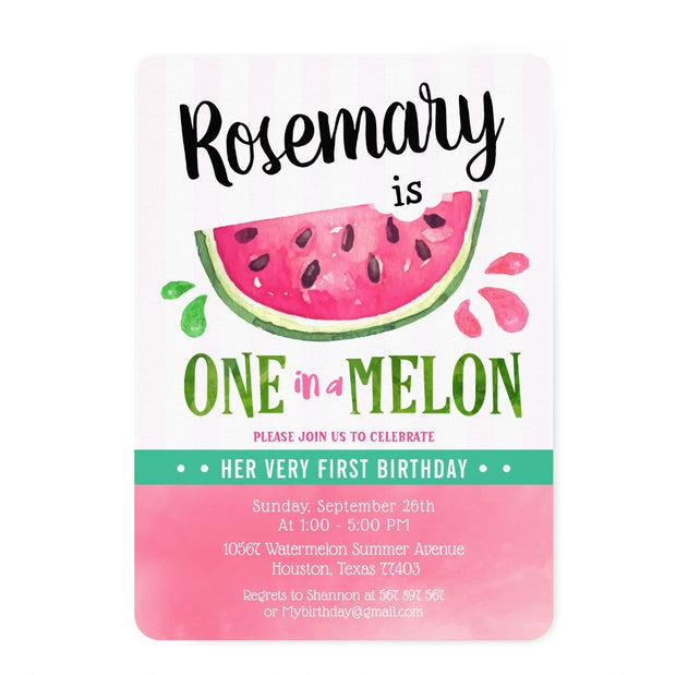 Pink One in a melon First birthday invitations