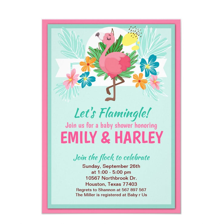 Tropical Flamingo baby shower invitation