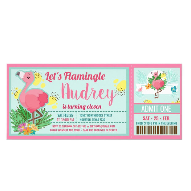 Pink Flamingo Tropical Summer ticket birthday invitations