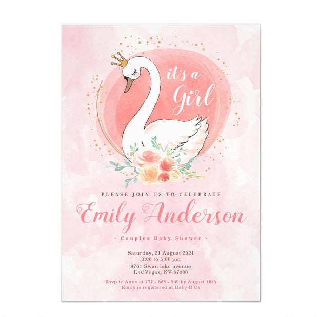 Blush Pink Swan Princess baby shower invitation
