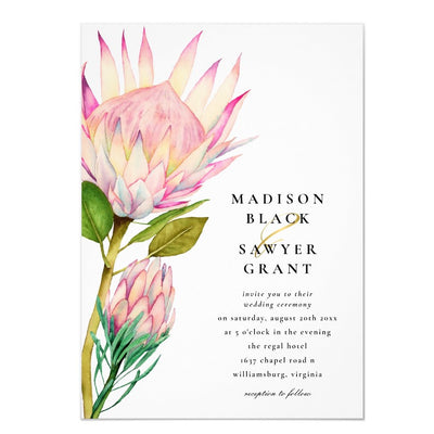King Protea Pink Floral Wedding Invitation