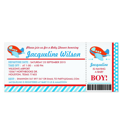 Airplane Ticket baby shower ticket invitation