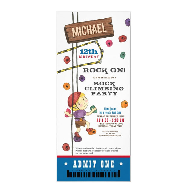 Rock Climbing Watercolour ticket birthday invitations