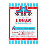 Roll on over! Blue Roller Skate Sport birthday invitations