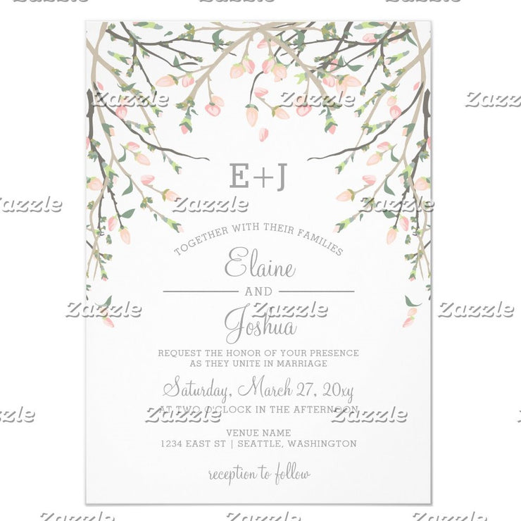 Blooming Blush Floral Wedding Invitations
