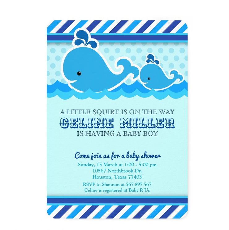 Whale Nautical Under The Sea baby shower invitation