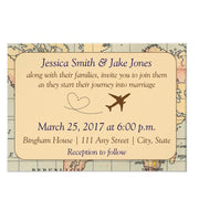 Vintage, Travel Themed wedding invitation