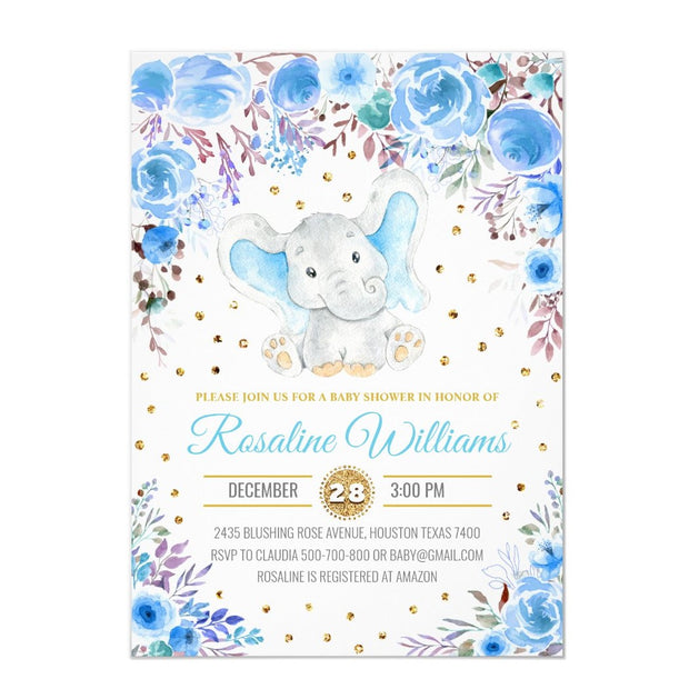 Boys Elephant baby shower invitation