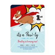 Superhero Puppy birthday invitations