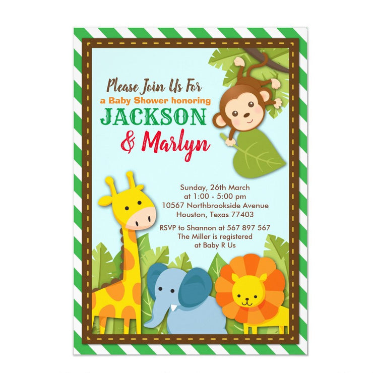 Let's get Wild Safari Joint Couples baby shower invitation