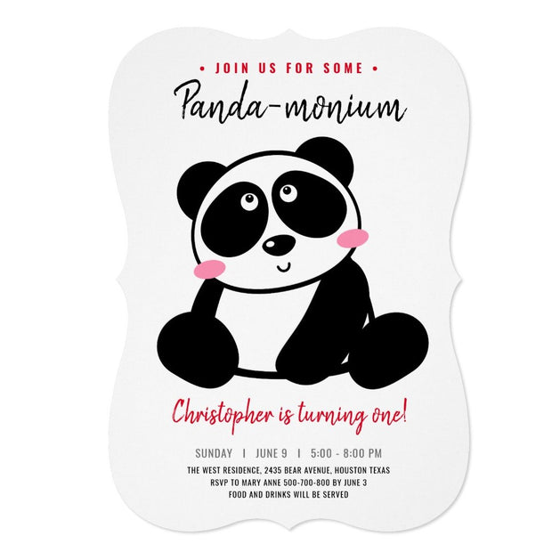 Panda birthday invitations