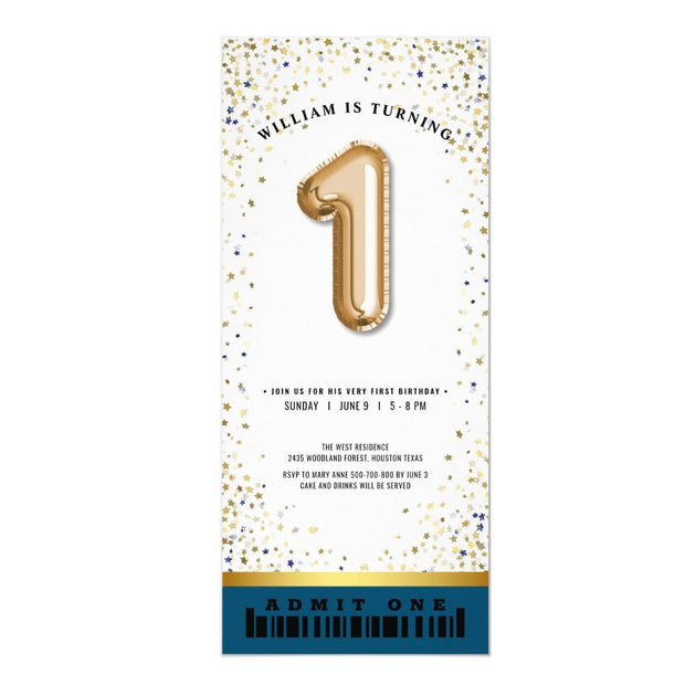 Twinkle Little Star Balloon Type ticket birthday invitations