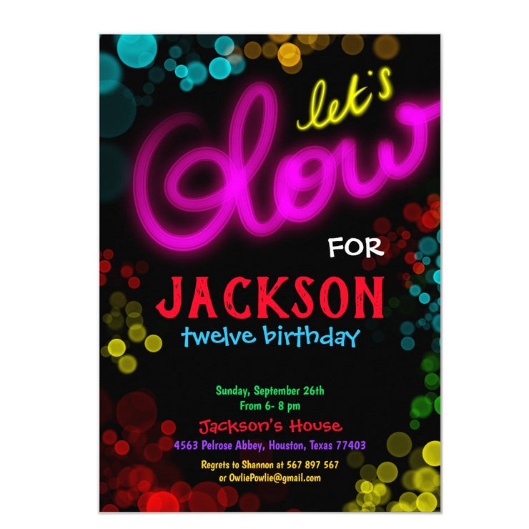 Lets Glow Neon Party birthday party invitations
