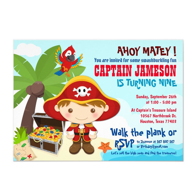 Ahoy Matey! Pirate birthday invitations