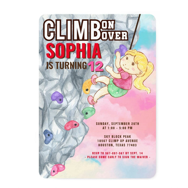Rock Climbing birthday invitations