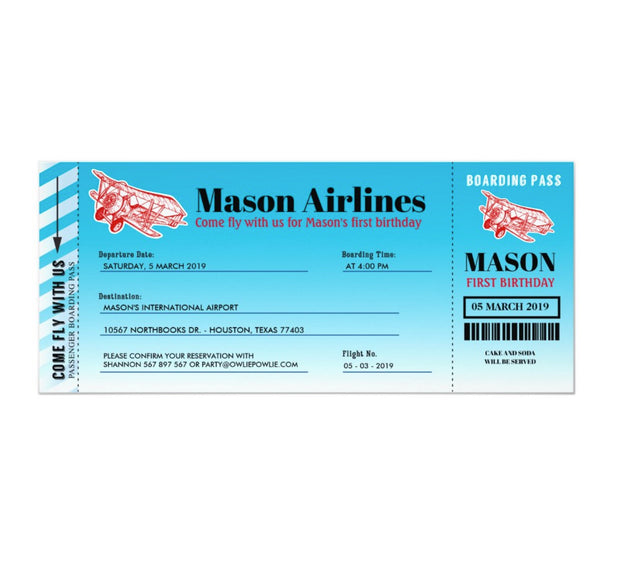 Airplane boarding pass birthday party ticket invitations