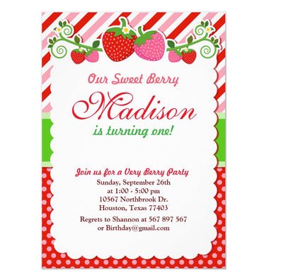 Sweet Berry Strawberry birthday invitations