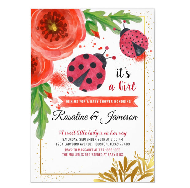 Golden Red Lady Bug baby shower invitations