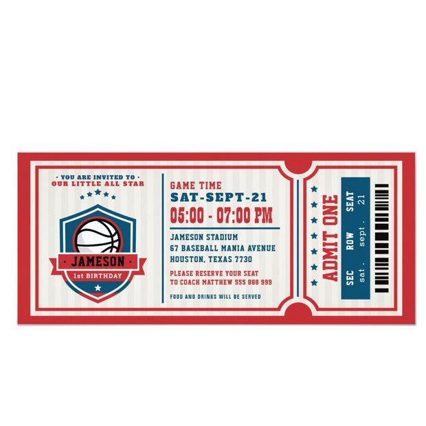 Red Vintage Basketball ticket birthday invitations