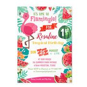 Watermelon Flamingo birthday invitations