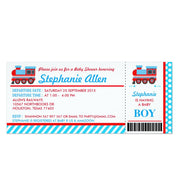 Train Boarding Pass baby shower ticket invitation