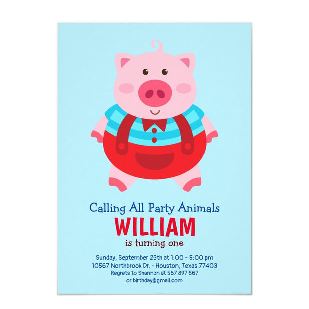Little pig birthday invitations