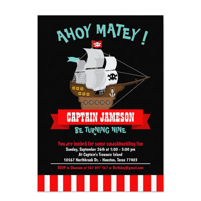 Ahoy Matey! Boat Pirate birthday invitations
