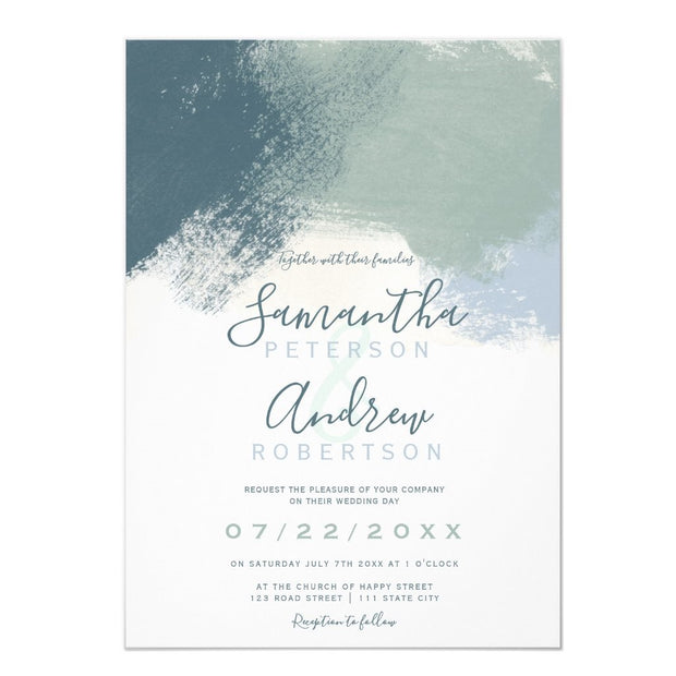 Modern abstract dusty blue brushstrokes wedding invitation