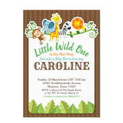 Jungle Zoo Animal Safari Adventure baby shower invitation