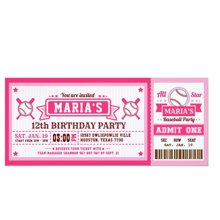 Baseball ticket birthday invitations