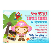 Ahoy Matey! Girl Pink Pirate birthday invitations