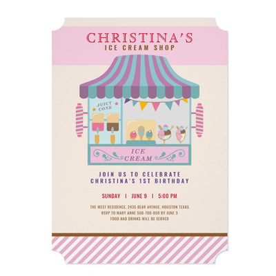 Chic Ice cream shop birthday invitations