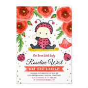 Gold Glitter I Ladybug Watercolour First birthday invitations