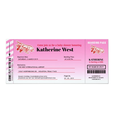 Airplane Boarding Pass baby shower ticket invitation