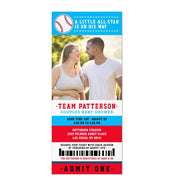 Red Blue Baseball Ticket Couples baby shower ticket invitation