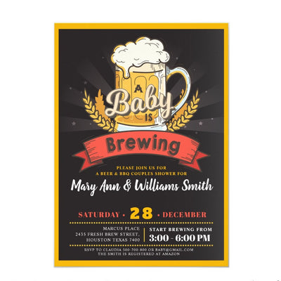 A baby is brewing beer couples baby shower invitation