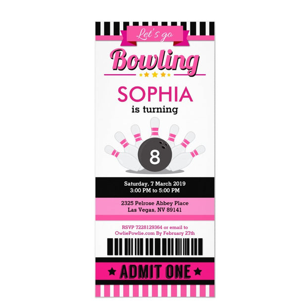 Pink Bowling ticket birthday invitations