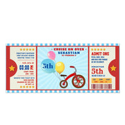 Red Tricycle ticket birthday invitations